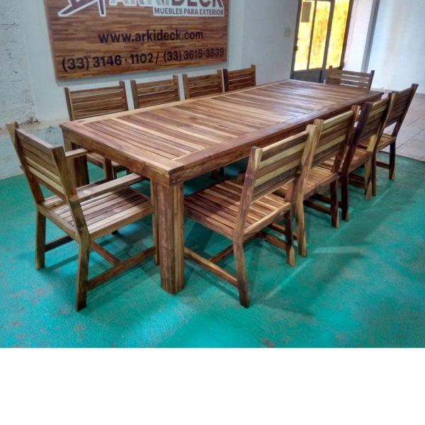 Comedor de madera para terraza de 10 personas- arkideck