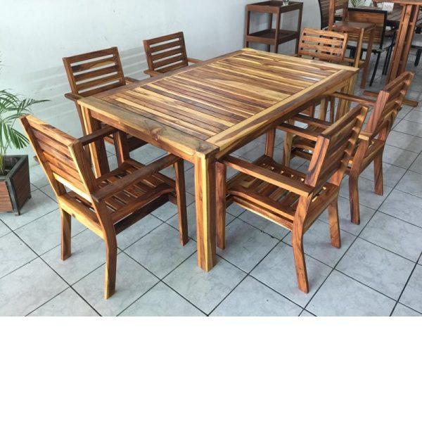 Comedor de madera para jardin de 6 personas- arkideck