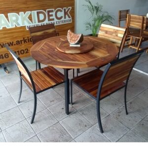 Comedor de madera y acero para exterior de 4 personas- arkideck