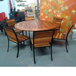 Comedor de madera y acero para exterior de 6 personas- arkideck