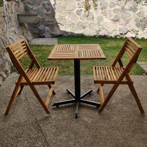 Comedor de madera y acero para terraza de 2 personas- arkideck