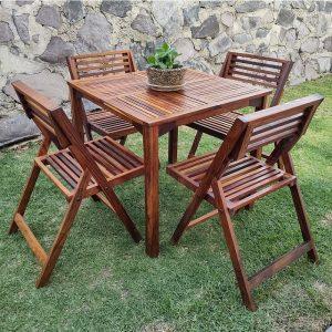 Comedor de madera para jardin de 4 personas- arkideck