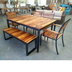 Comedor de madera y acero para terraza -arkideck