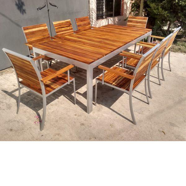 Comedor de madera y acero para exterior de 8 personas- arkideck