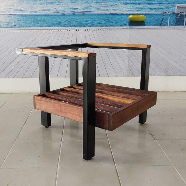 Sillon individual de madera y acero para terraza- arkideck