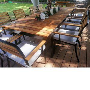 Comedor de madera y acero para terraza de 12 personas- arkideck